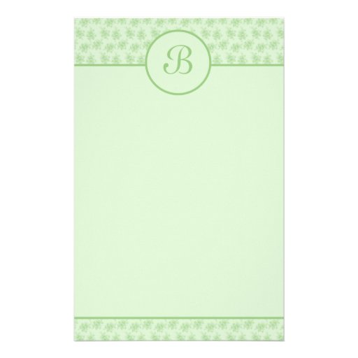 Green Floral Monogram Initial Stationery