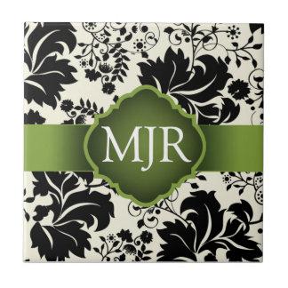 Green Floral Monogram Keepsake Wedding Favor Small Square Tile