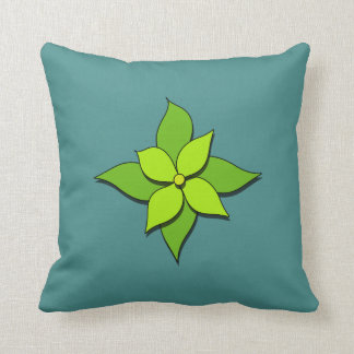 Green Floral on Blue Green Cushion