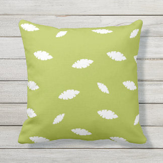 Green Floral Outdoor Throw Pillow
