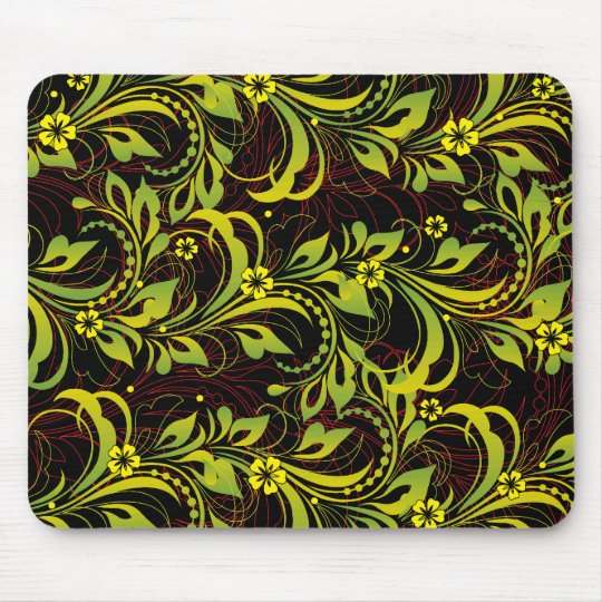 green floral pattern mouse pad