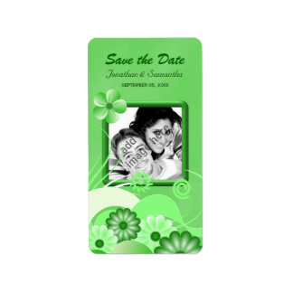 Green Floral Photo Save The Date Wine Labels
