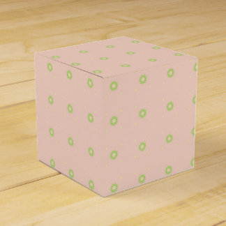 Green Floral Polka Dots on Peach Wedding Favour Box