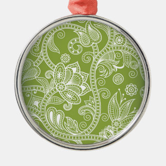 green floral Silver-Colored round decoration