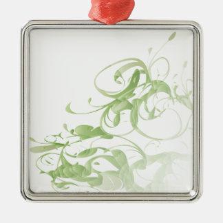 Green floral Silver-Colored square decoration