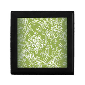 green floral small square gift box