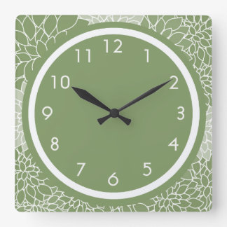 Green Floral Square Wall Clock