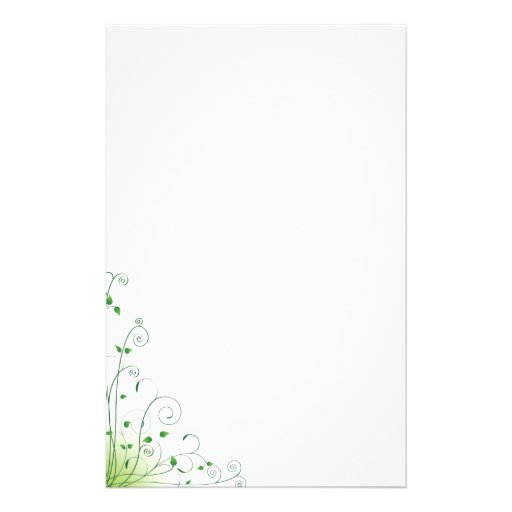 green floral stationery paper