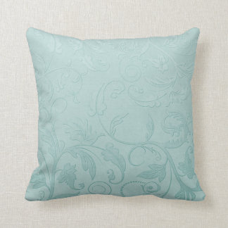 Green floral swirl throw pillow