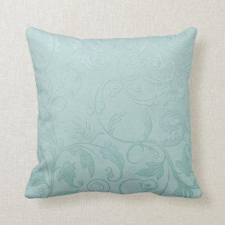 Green floral swirl throw pillow