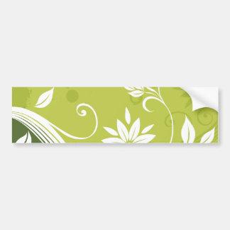 Green Floral Vine Pattern Bumper Stickers