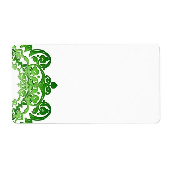 Green Floral Vintage Art Large Labels