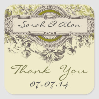 Green Floral Vintage Wedding Thank You Sticker