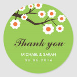 Green Floral Wedding Favour Thank You Sticker