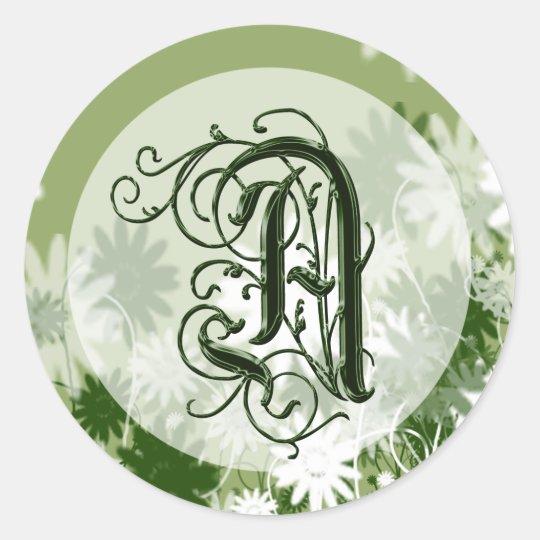 Green Floral Wedding Monogram A Seal Round Sticker