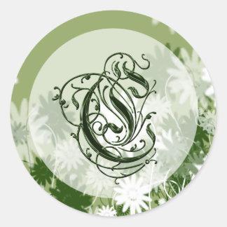 Green Floral Wedding Monogram C Seal Round Sticker