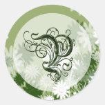 Green Floral Wedding Monogram P Seal Round Sticker