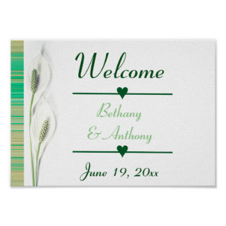 Green Floral Welcome Wedding Reception Poster
