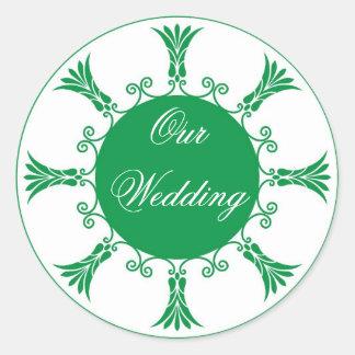 Green Flourish Design-Our Wedding Round Sticker