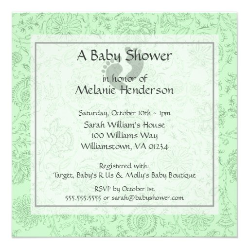 Green Flower Baby Shower Invitations