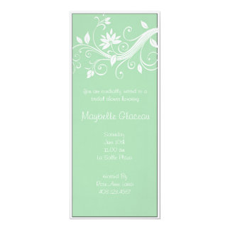 Green Flower Bridal Shower 10 Cm X 24 Cm Invitation Card