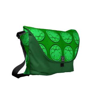 green flower circles commuter bag