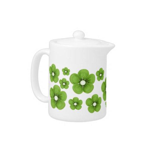 Green Flower Design Teapot