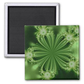 Green Flower Fractal Magnet