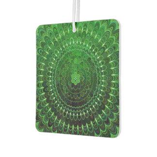 Green Flower Mandala Car Air Freshener