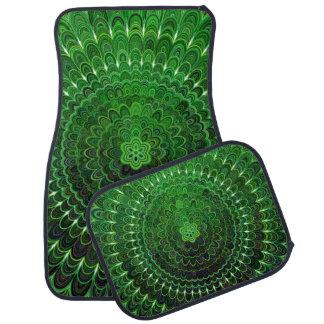 Green Flower Mandala Car Mat
