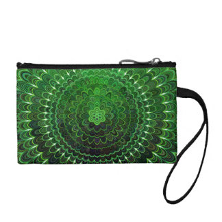 Green Flower Mandala Coin Purse