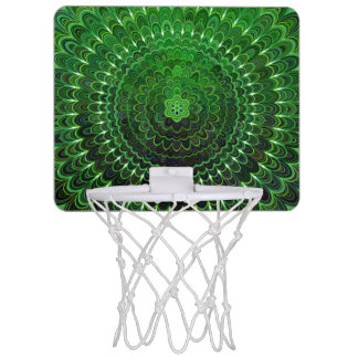 Green Flower Mandala Mini Basketball Hoop