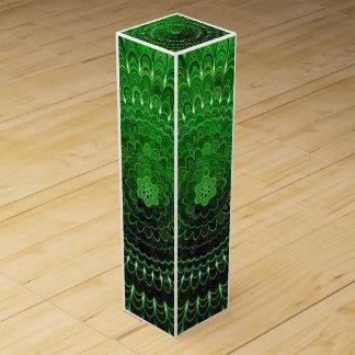 Green Flower Mandala Wine Box
