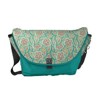 Green flower pattern messenger bags