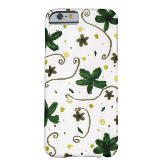 Green flower patterned barely there iPhone 6 case
