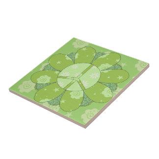 Green Flower Peace Sign Ceramic Tile
