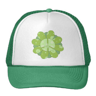 Green Flower Peace Sign Hats