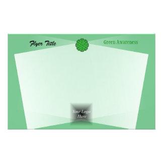 Green Flower Ribbon by Kenneth Yoncich 14 Cm X 21.5 Cm Flyer