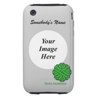Green Flower Ribbon by Kenneth Yoncich Tough iPhone 3 Cases