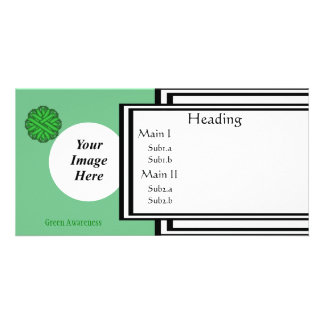 Green Flower Ribbon Template Customized Photo Card