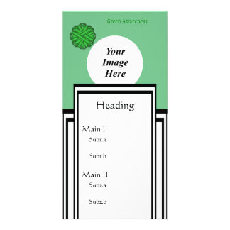 Green Flower Ribbon Template Personalized Photo Card