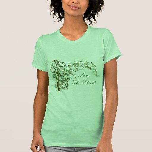 Green Flower Vine Border T-shirt