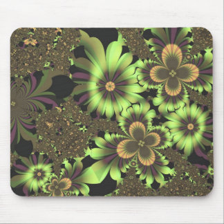 Green Flowers Mouse Pad