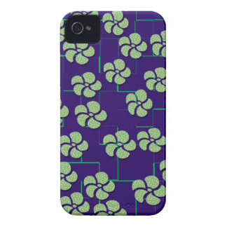 GREEN FLOWERS ON BLUE iPhone 4 Case-Mate Case