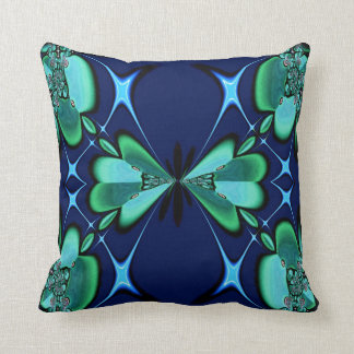 Green Flowers on Navy American MoJo Pillows Cushion