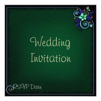 Green Flowery Wedding Invitation