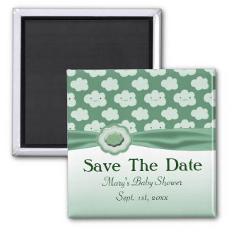 Green Fluffy Clouds Baby Shower Fridge Magnets