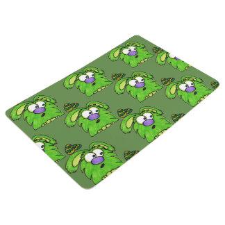 Green fluffy monster floor mat
