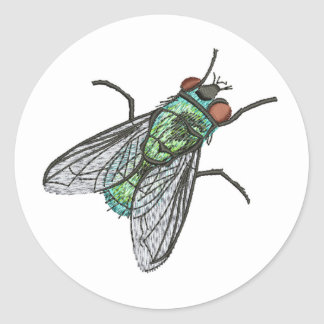 green fly - imitation of embroidery classic round sticker