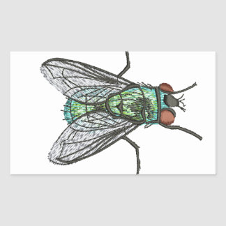 green fly - imitation of embroidery rectangular sticker